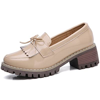 DADAWEN Women's Classic Tassel Slip-On Platform Mid-Heel Square Toe Oxfords Dress Shoes | Oxfords