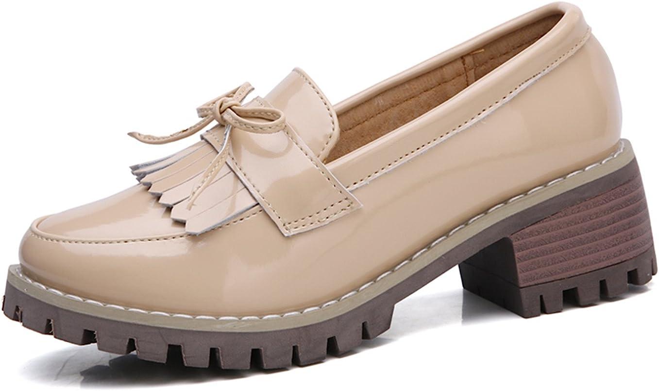 DADAWEN Womens Classic Tassel Slip-On Platform Mid-Heel Square Toe Oxfords Dress Shoes