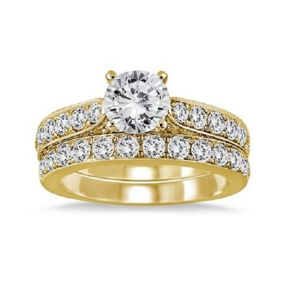 1 7/8 Carat Lab Created Diamond Engagement Wedding Ring Bridal Set in 14k Yellow Gold Plated Alloy DreamJewels
