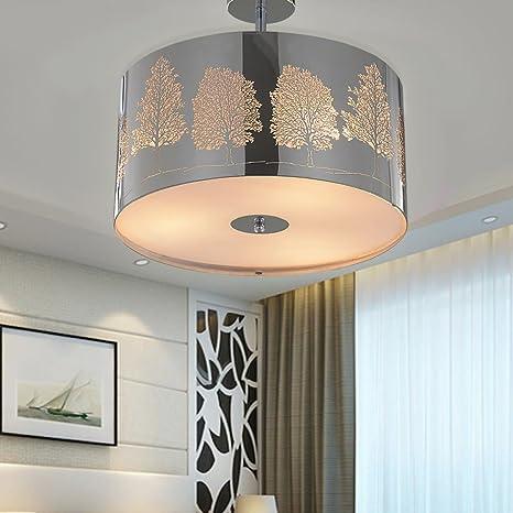 sparksor Leuchten – Lámpara de techo en cromo mate, pantalla de tela gris lámpara colgante para salón dormitorio Cocina Comedor, Blanco cálido, ...