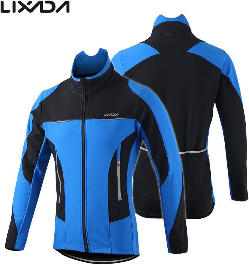 Lixada Hiver Hommes Veste de Cyclisme Imperm/éable Coupe-Vent Thermique Polaire Veste Manteau V/élo Course /Équitation Veste Noir//Vert//Bleu S 2XL