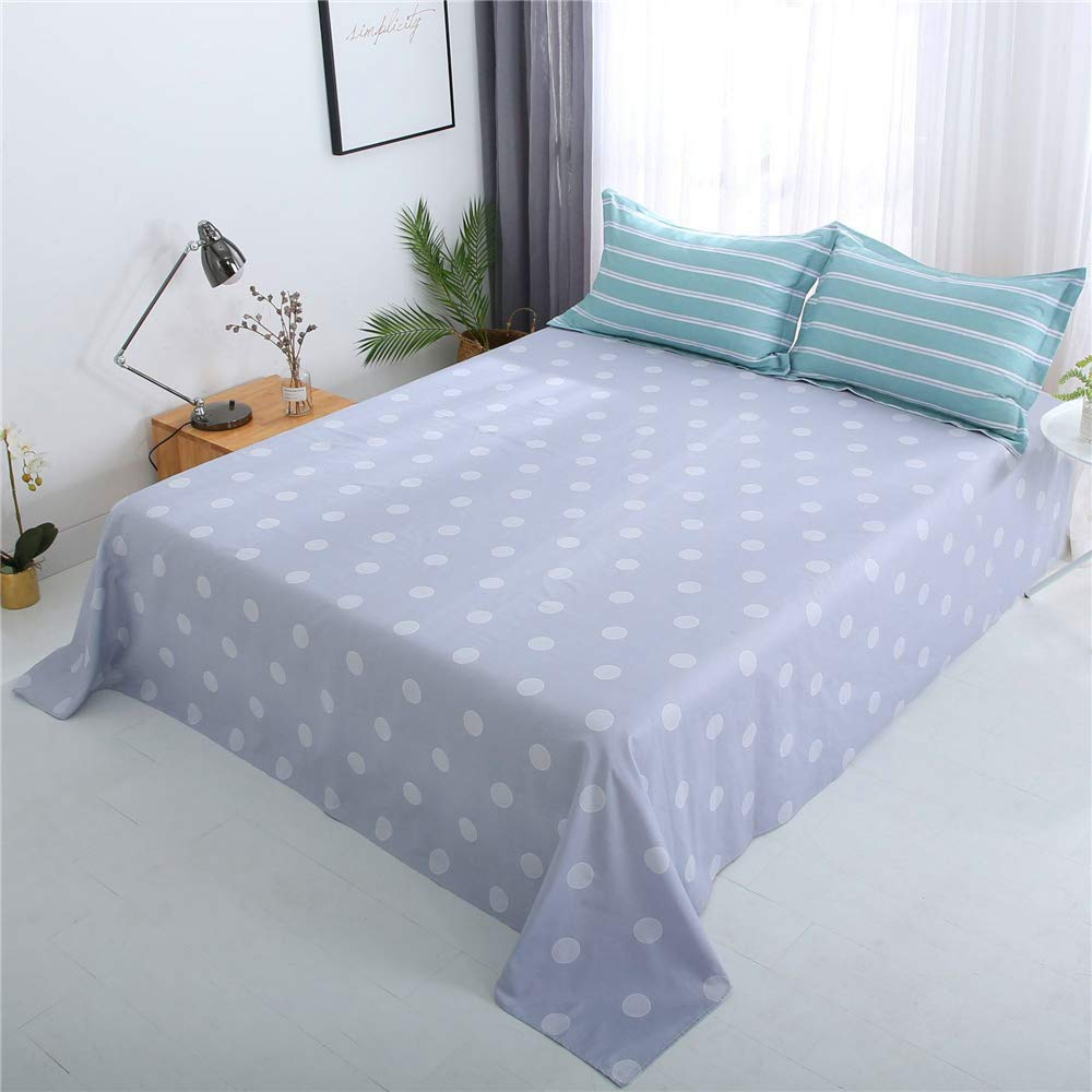 Cotton Sheets Simple and Comfortable Right Angle Sheets Skin-Friendly Delicate Cotton Fabric Exquisite Seaming Fashion Cartoon Natural Comfort Fashion Style Green 200230cm by iangbaoyo