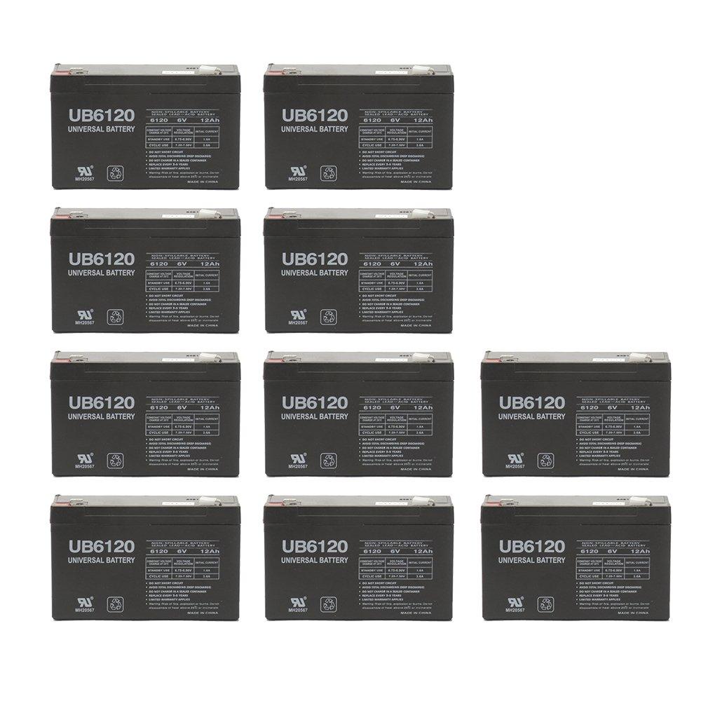 6V 12 AH F2 UB6120F2 UPS Battery Replaces CSB GP6120F2, GP 6120 F2 - 10 Pack