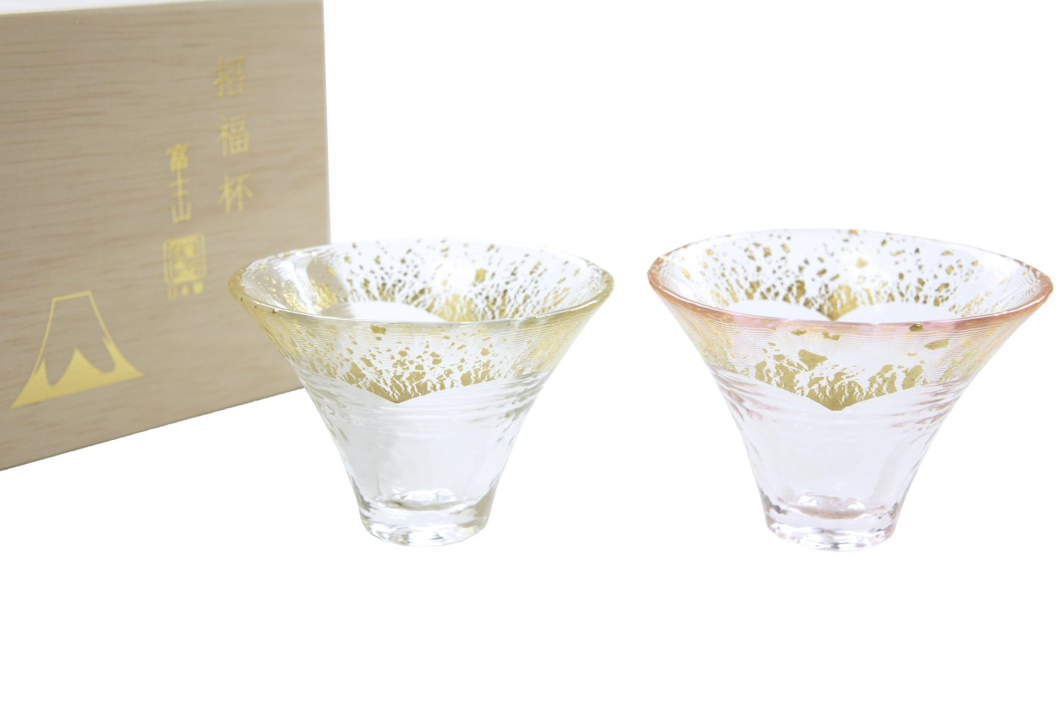 Japanese Lucky Cut Glass Sake Cups A Pair of Mt. Fuji by KIMOTO GLASSWARE