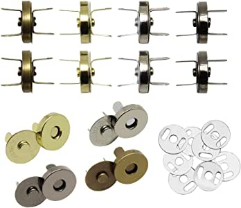 Hysagtek 40 Sets Magnetic Button Clasps Snaps Fastener Clasps DIY Craft Sewing Buttons Knitting Buttons Sets for Sewing Craft Purses Bags Clothes Leather 4 Colors (18mm)