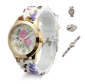 Estone calientes de moda mujer vestido reloj silicona impresas flor Causal cuarzo relojes de pulsera, hot pink: Amazon.es: Deportes y aire libre