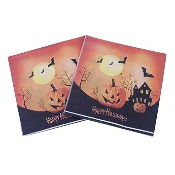 Servilletas de fiesta, Halloween calavera Servilletas calabaza Decoración Impresión Papel Toallas de mano de Halloween mesa decoración (20 unidades/Pack) a: ...