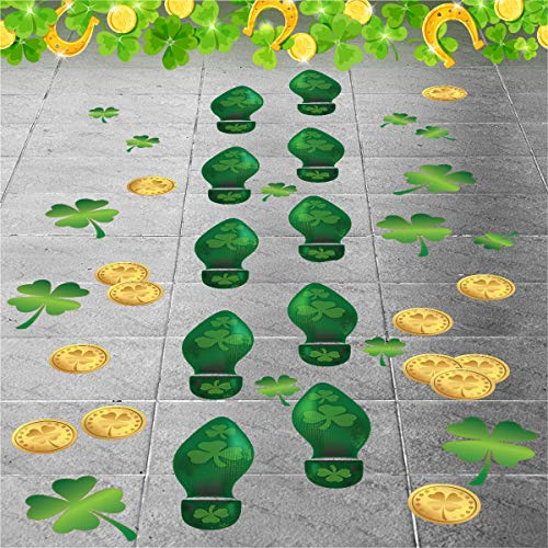 Colonel Pickles Novelties Leprechaun Footprint – Floor Decals 184 Ct - St Patrick's Day Decorations - 48 Sets of Footprints -