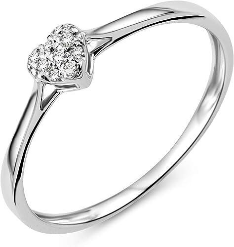 Miore Women S Diamond Engagement Ring Heart White Gold 9 Carat 375 Gold Diamonds 0 04 Carat Amazon De Schmuck