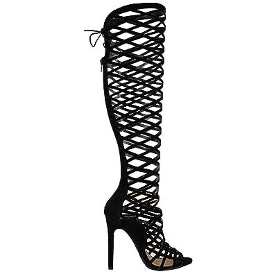 Fashion Thirsty da Donna da Ragazza con Intagli Pizzo al Ginocchio Tacco Alto Stivali Sandali Stile Gladiatore con bretelline Misura - Grigio Camoscio, 38