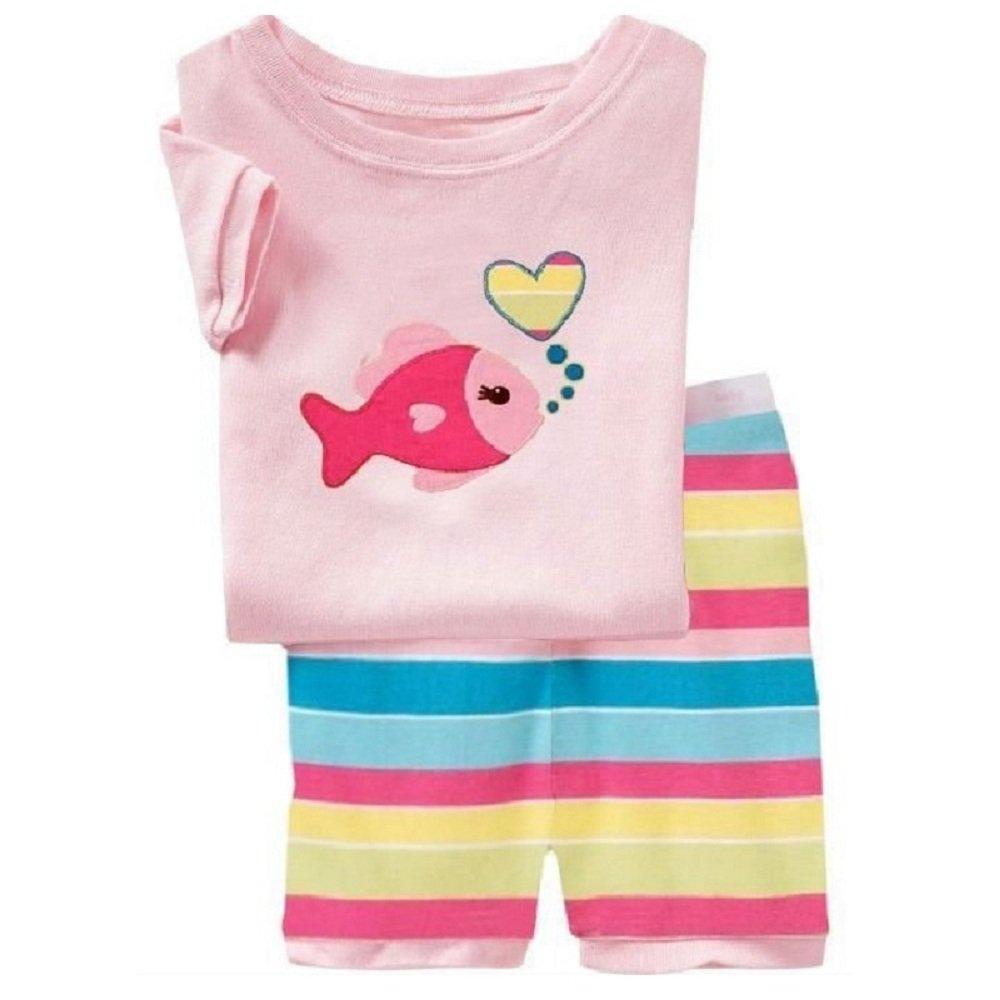 Hooyi Baby Girl Sleepwear Cotton Children Short Sleeve Fish Pajamas Set