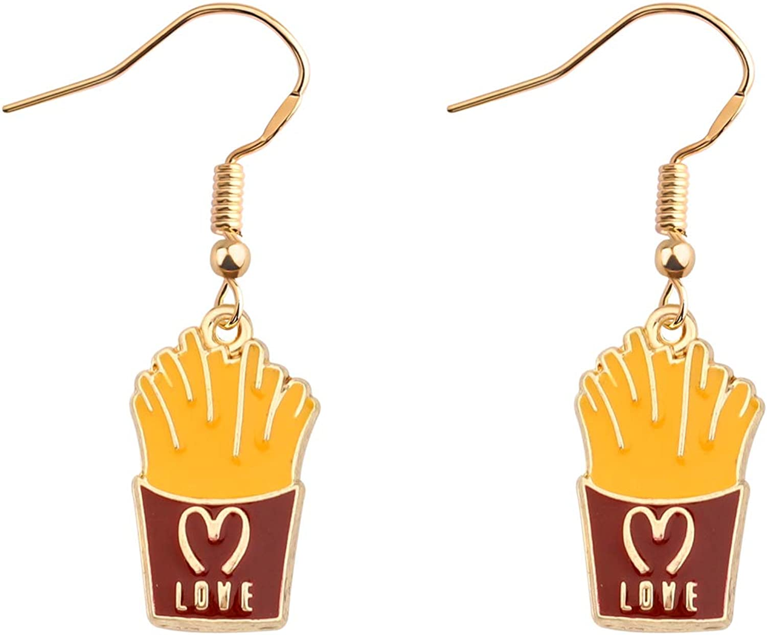 BAUNA Mini Food Earrings Burger and French Fry Dangle Earring Fast Food Lovers Gift
