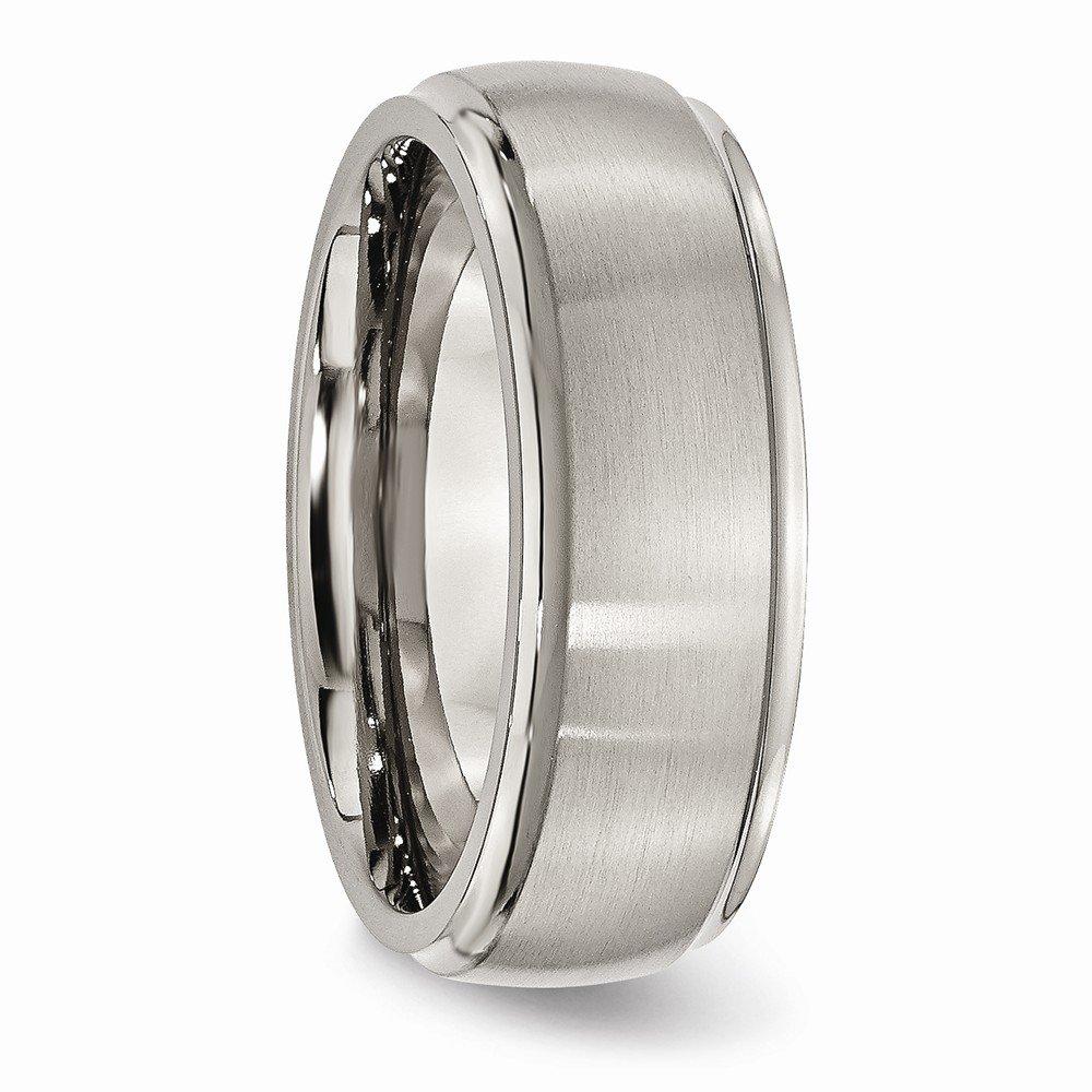 BillyTheTree Jewelry Titanium Ridged Edge 8mm Brushed and Polished Band Ring TB38