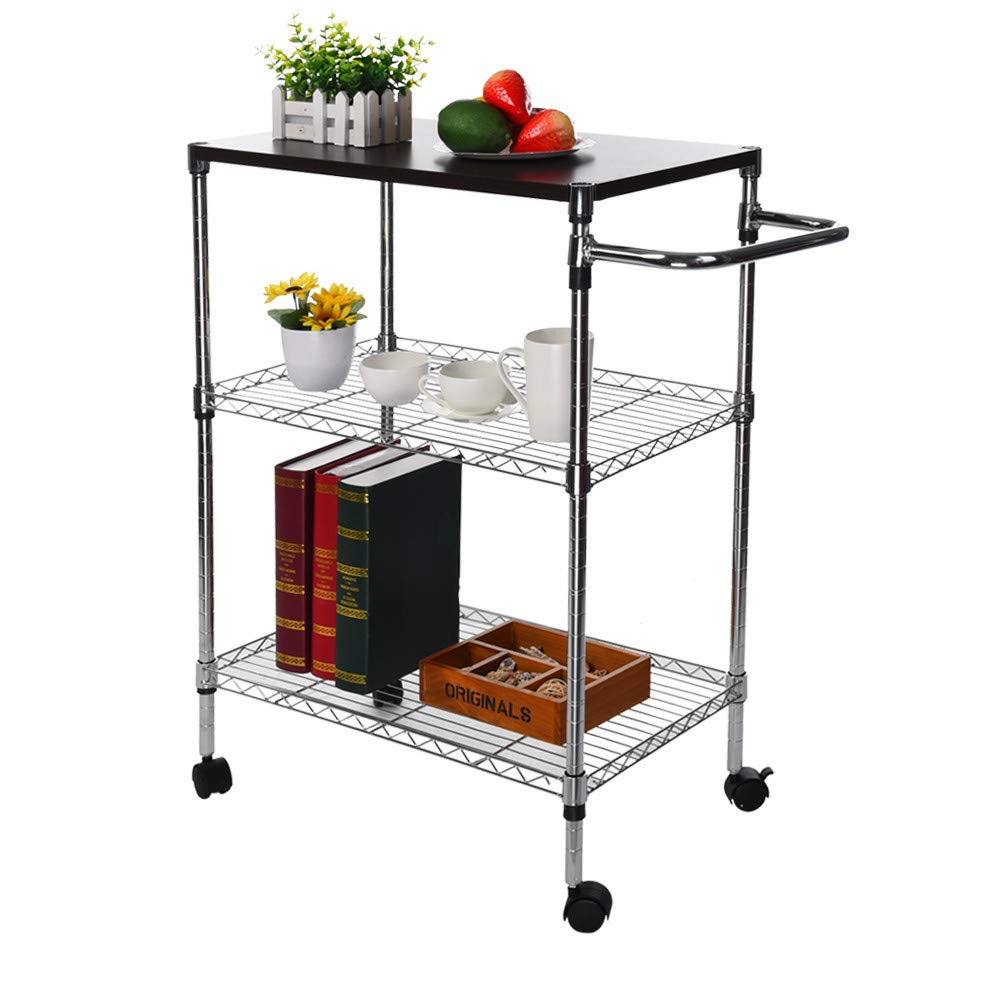 ChainSee 3 Tier Multi-Function Storage Rack, Microwave Stand Kitchen Oven Rack with Wheeled Wooden Cart, Kitchen Supplies Storage Rack by ChainSee (Image #2)