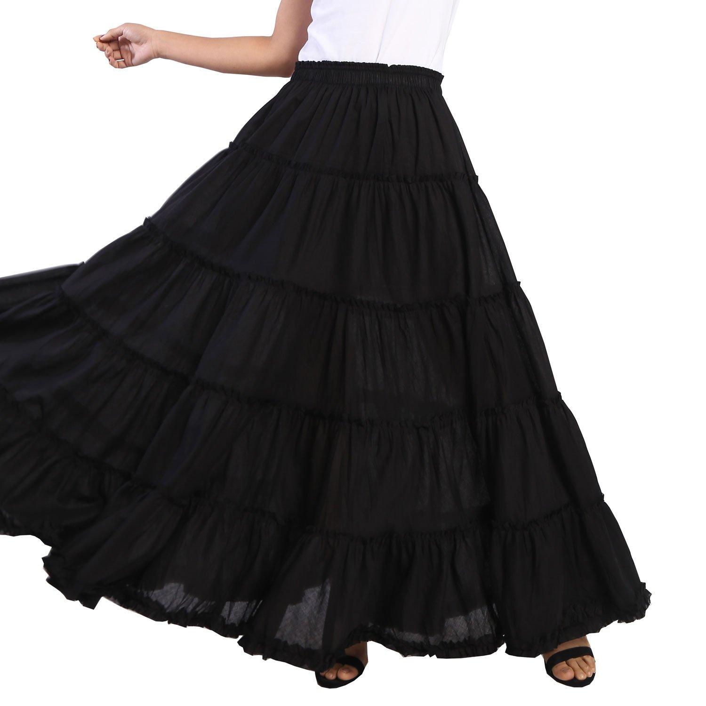 096f581345 Vateno Gypsy Pleated Skirt Women Long Boho Maxi Skirts Spain Belly Dance  Skirts White Black Red