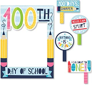 product image for Big Dot of Happiness Happy 100th Day of School - 100 Days Party Selfie Photo Booth Picture Frame and Props - Printed on Sturdy Material