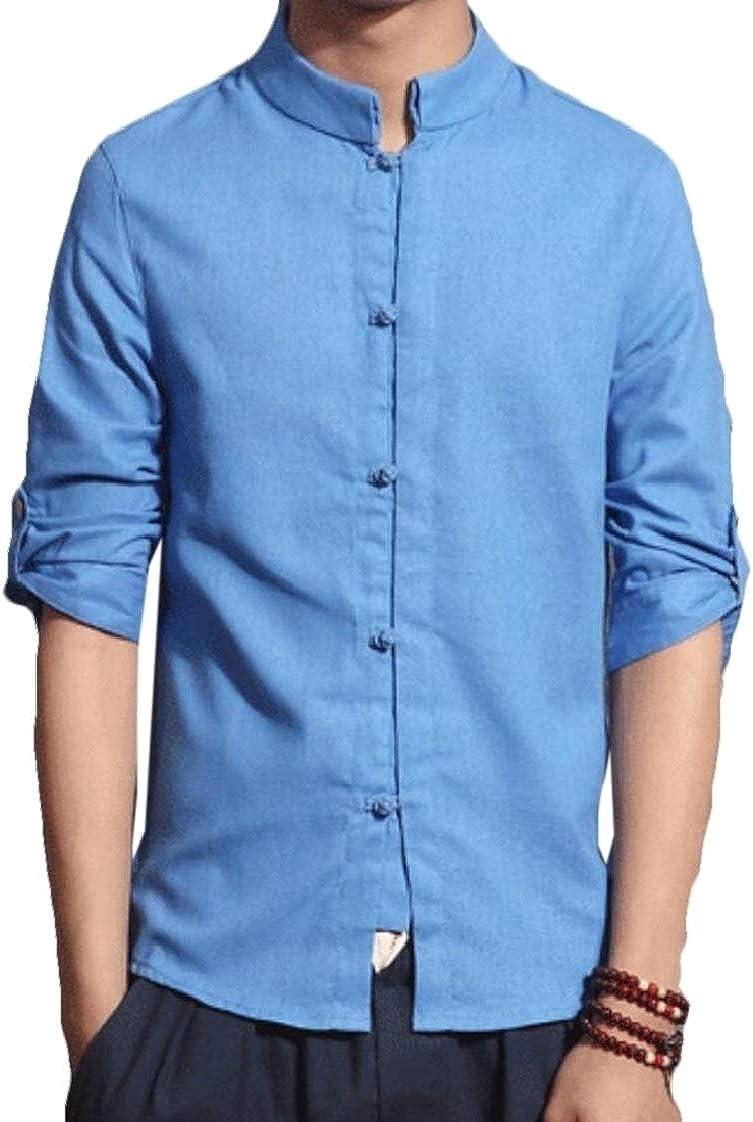 pipigo Mens Long Sleeve Button Down Casual Mandarin Collar Linen Shirts