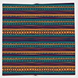 Cotton Microfiber Hand Towel,Tribal,Striped Retro Aztec Pattern with Rich Mexican Ethnic Color Folkloric Print,Teal Plum and Orange,for Kids, Teens, and Adults,One Side Printing
