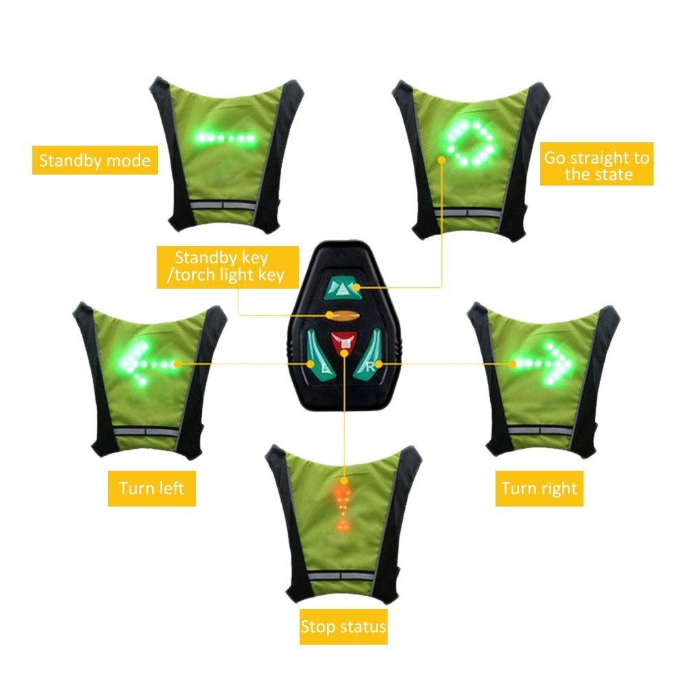 Bicycle Accessories Efficient Lixada Bike Bag Usb Reflective Vest With Led Turn Signal Light Remote Control Sport Safety Bag Gear For Cycling Jogging Available In Various Designs And Specifications For Your Selection Bicycle Bags & Panniers