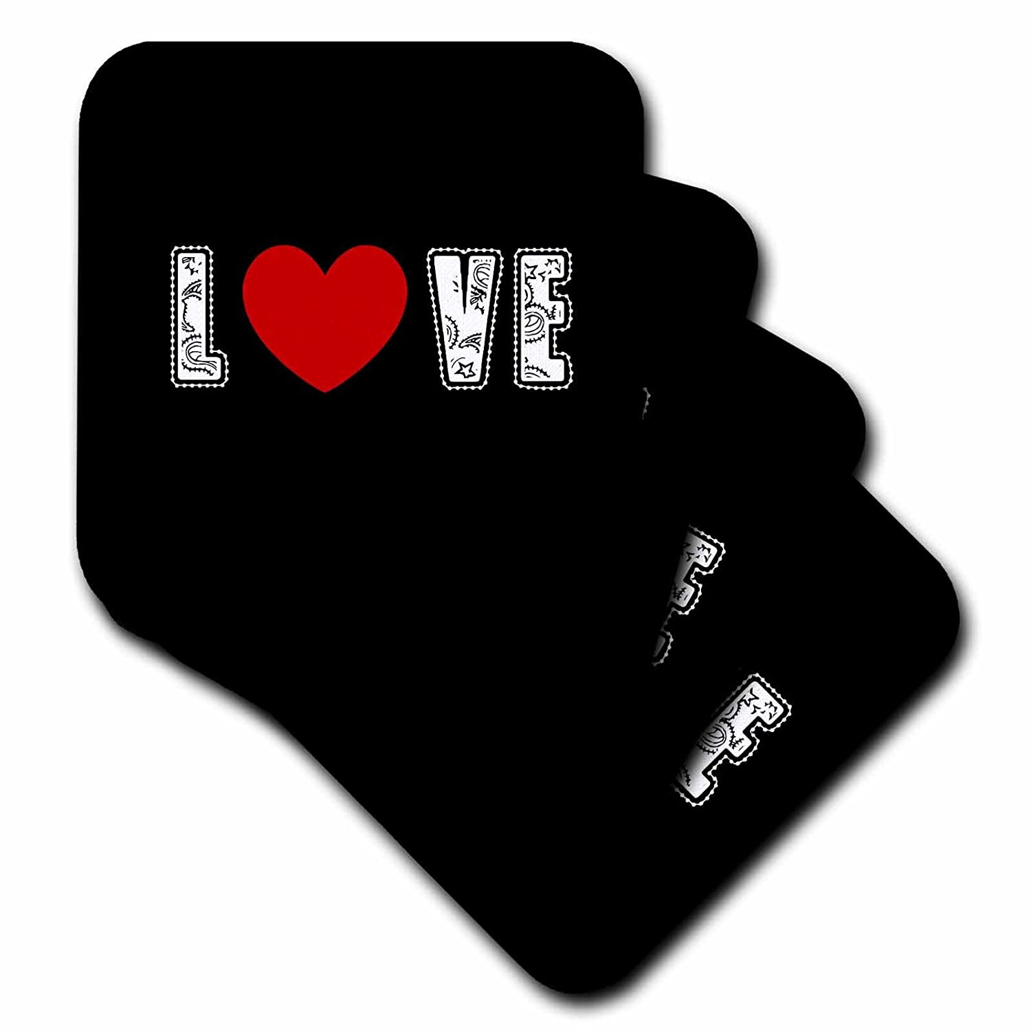 3dRose cst/_40202/_2 Black and White Love Heart Inspirational Art Soft Coasters Set of 8
