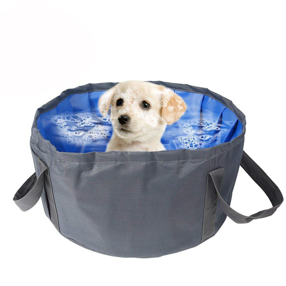 QBLEEV Pet Dog Pool Cat Puppy Foldable Portable Shower Bathtub Bathing Tub Swimming Travel Supplies Waterproof Outdoor/Indoor PVC Water Pond for Small Dogs Cats 18''×18''×8.6'' (Gray)