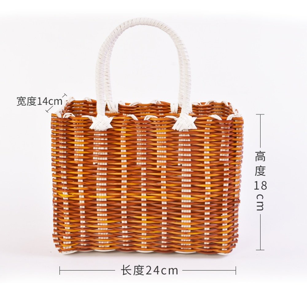 SEESUNG Plastic Woven Bath Blue Bathroom Storage Basket Basket Baby Portable Basket Basket Hanging Basket Flower Basket, Yellow by SEESUNG (Image #2)