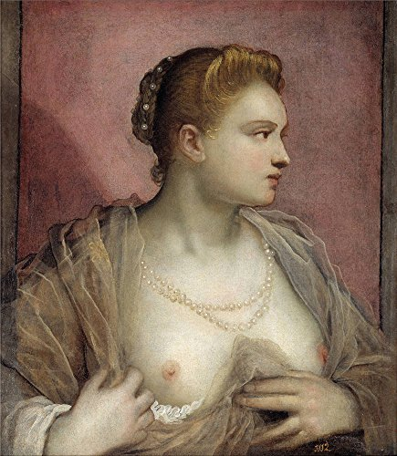 The Perfect Effect Canvas Of Oil Painting 'Tintoretto Jacopo Robusti Lady Baring Her Breast Ca. 1555 ' ,size: 8 X 9 Inch / 20 X 23 Cm ,this Reproductions Art Decorative Canvas Prints Is Fit For Foyer Gallery Art And Home Artwork And