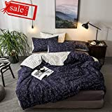 100% Cotton Bedding Sets Boy Girl Constellation Star Printed Single Bed Duvet Cover Sets Twin Zipper Reversible White Black Checkered Geometric Comforter Bedding Cover Sets for All Seasons