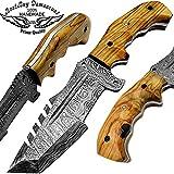 "Olive Wood 10"" Tracker Fixed Blade Custom Handmade Damascus Steel Hunting Knife 100% Prime Quality For Sale"