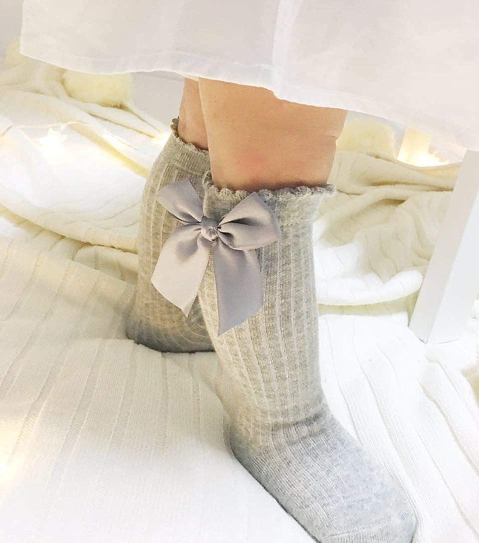 Spanish Girl Baby Cotton Knee High Socks Casual Long Bow Romany School Stockings