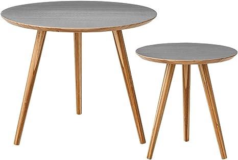 Bloomingville Table Basse en Bambou Gris Lot de 2