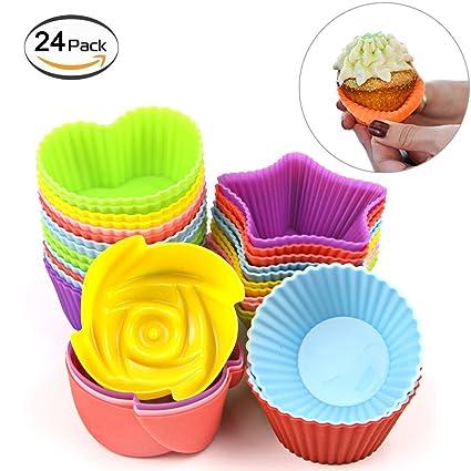 Antiadherente moldes para cupcakes 24 unidades silicona moldes para magdalenas envoltorios para magdalenas moldes reutilizables y