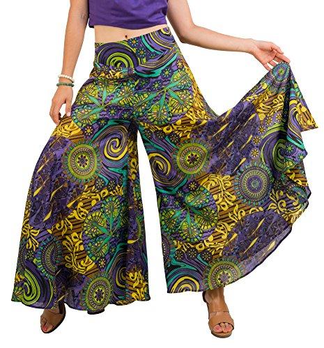 Wide Leg Cotton Palazzo Pants, Elastic Waist, Purple and Yellow, M (Wear Gaucho Pants)