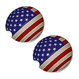 American Flag Sphere Car Coasters - Round Sandstone