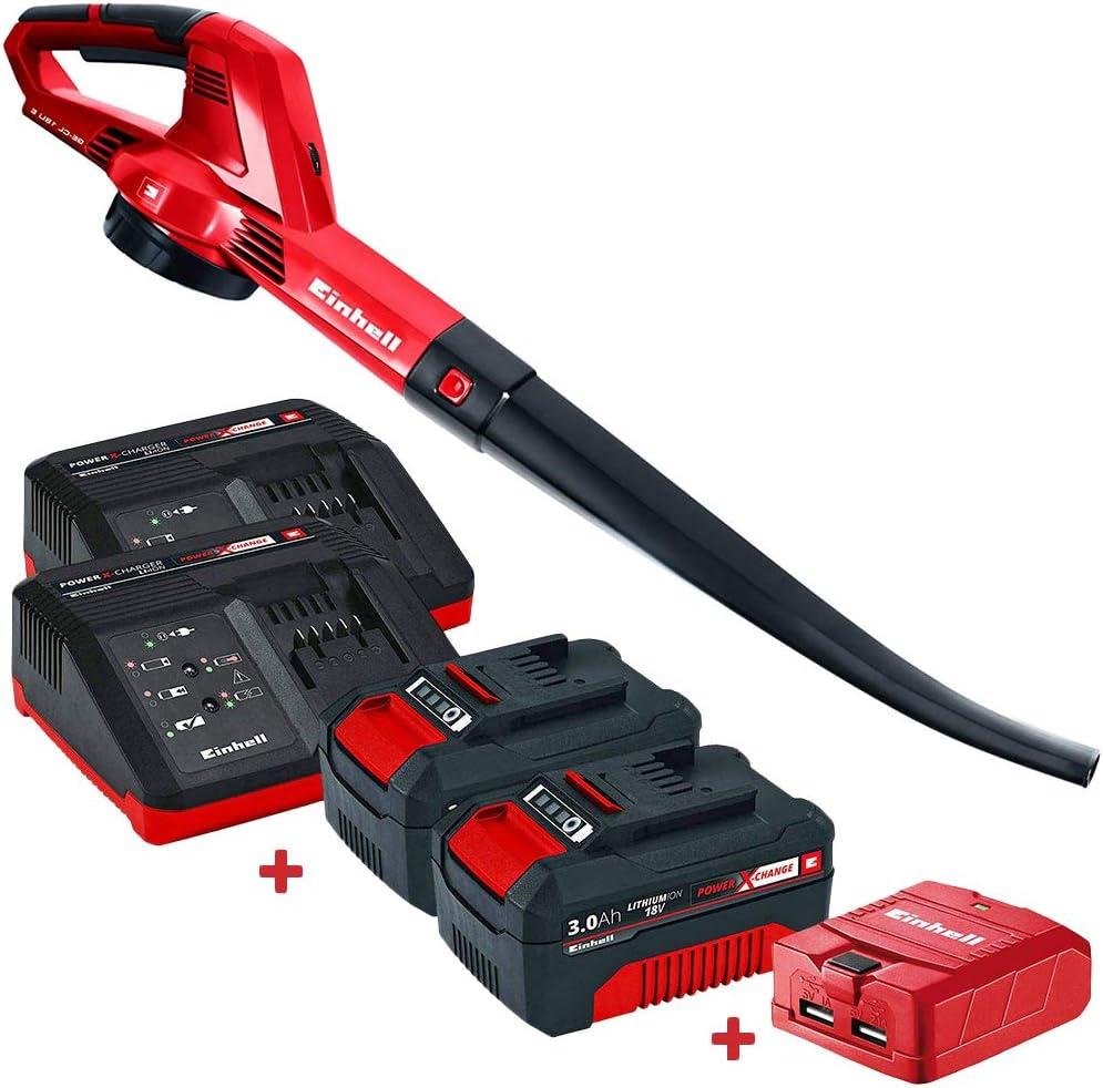 Set soplador de Hojas Einhell GE-CL 18V Li con 2 Baterías 3Ah, Cargadores y Adaptador USB Kabra: Amazon.es: Jardín