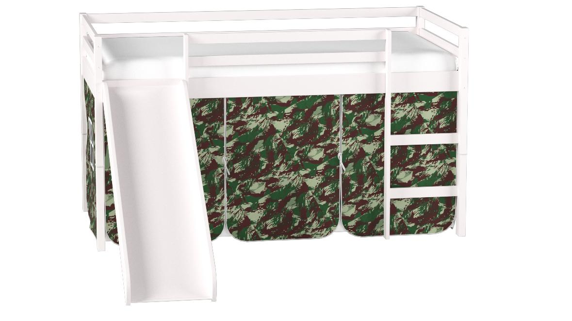 Donco Kids Mission Low Slide Loft Bed White/Twin/CAMO Tent