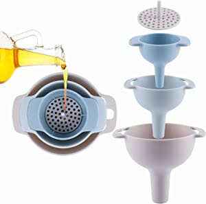 1pc Small Funnels for Kitchen Use,Funnels for Bottles Funnel with Strainer for Transferring Oil,Food,Water,Liquid, Fluid,Dry Ingredients and Powder