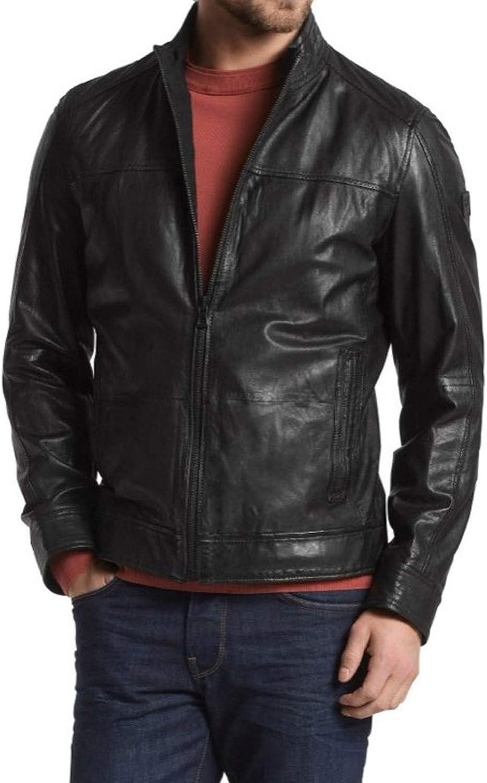 brandMe Mens Genuine Leather Pure Lambskin Biker Jacket MM374