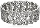 1928 Jewelry Vintage Lace Half-Circle Filigree Stretch Bracelet, 9""