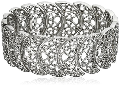 1928 Jewelry Vintage Lace Silver-Tone Half-Circle Filigree Stretch Bracelet, (Silver Filigree Cuff)