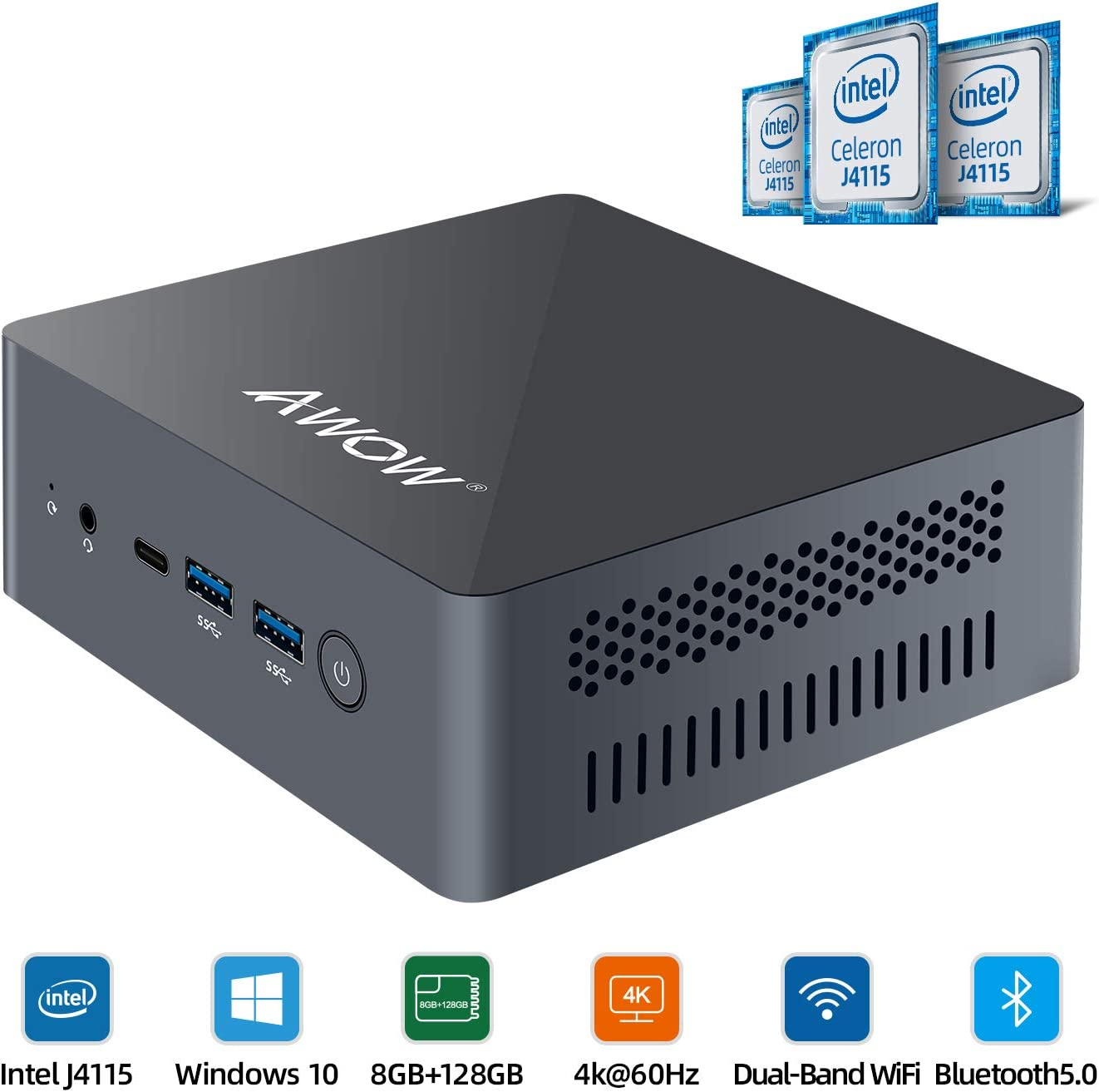 Mini PC AWOW Mini Desktop Computer Windows 10 Intel Celeron J4115 with 8GB DDR4/ NVMe M.2 128GB SSD with Triple Display 4K@60Hz,Extended SSD 2TB, Dual Band WiFi,HDMI2,USB4,BT5.0,Gigabit Ethernet