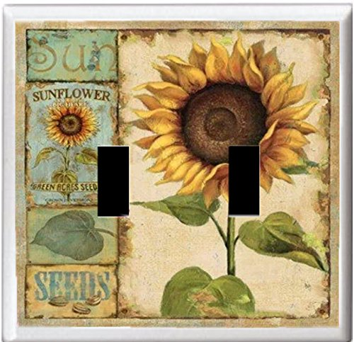 GYC2 COUNTRY SUN FLOWERS PRIMITIVE HOME DECOR LIGHT SWITCH COVER PLATE OR OUTLET (2X TOGGLE) - Country Switch