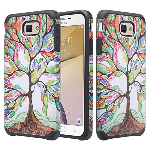 Colorful Protective Case (Galaxy J7v Case, Galaxy J7 Perx Case, Galaxy J7 Prime, Galaxy J7 Sky Pro Case [Impact Resistant] Hybrid Dual Layer Armor Defender Protective Case Cover for Galaxy Halo - Colorful Tree)