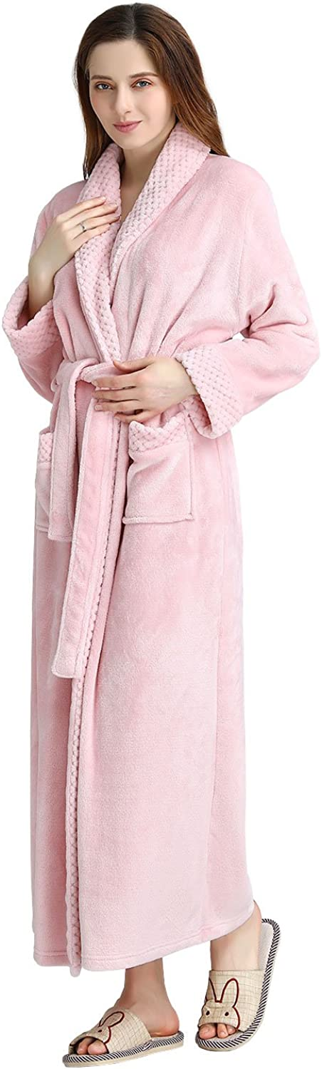 Womens Long Robe Soft Plush Plus Size Warm Comfy Bathrobe for Ladies Sleepwear