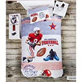 3d College 3 Piece Bed Sheets Set 100% Cotton Bedding Linens Cover Sheets Comforter Bed Set Teen Boys Red Blue White Boy Print Bedding Set - Luxurious, Comfortable, Breathable