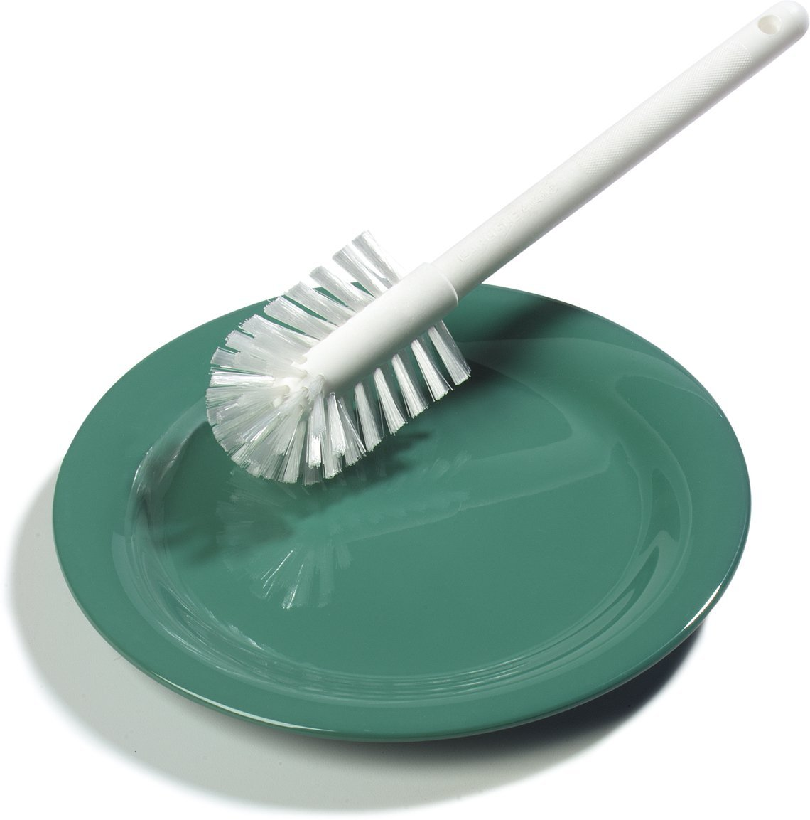Carlisle Sparta Dish Brush 7 Dish brush removes food particles from dishware Brush has a flat side to assist in removing caked-on food from dishware Block and handle are made of plastic for durability