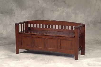 Amazoncom Linon Home Decor Storage Bench with Short Split Seat