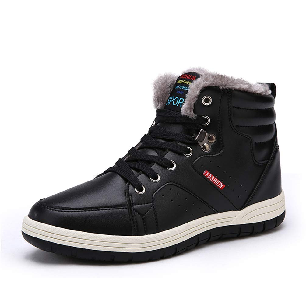 Sherry Winter Snow Boots Slip-on Water Resistant Booties Men Anti-Slip Lightweight Ankle Boots Full Fur-Black-44 EU