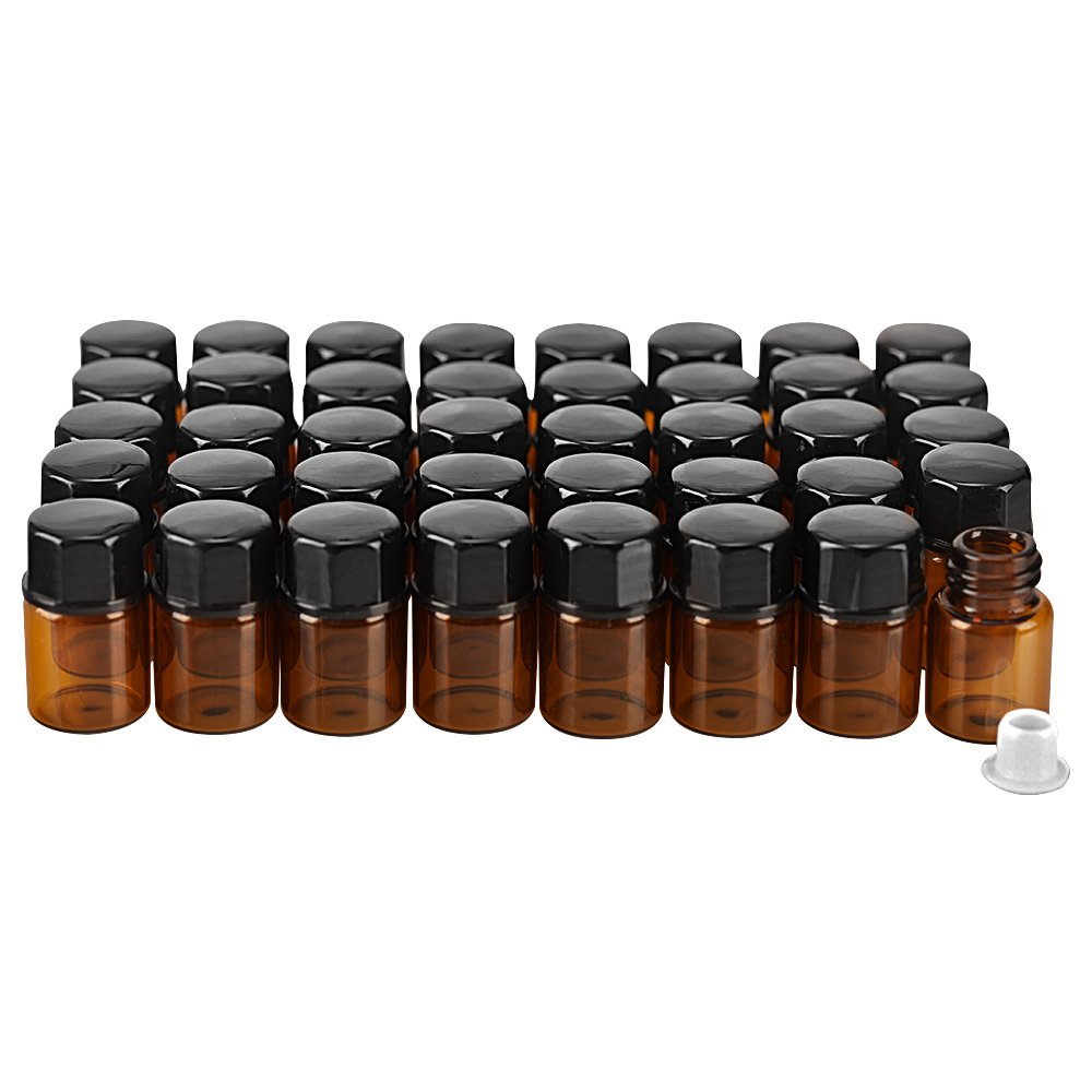 40 pack 2ml (5/8 Dram) Mini Amber Glass Essential Oils Sample Bottles with Orifice Reducer and Black Caps for Essential Oils,Chemistry Lab Chemicals,Colognes & Perfumes.3 plastic droppers as gift.