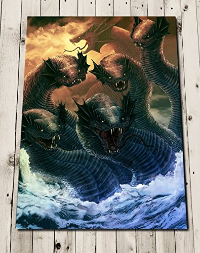 Hydra Fantasy Art Print - Mythical Creatures Snake Poster - Greek Mythology Illustration Painting